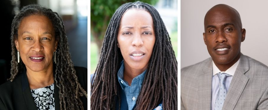 headshots of Lecia Brooks, Bettina Love, and Tyrone Howard
